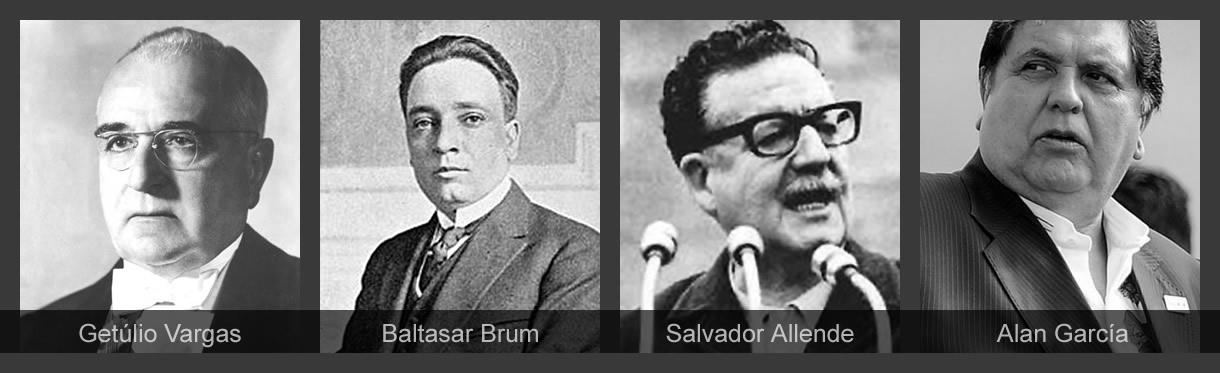 Getúlio Vargas, Baltasar Brum, Salvador Allende y Alan García.